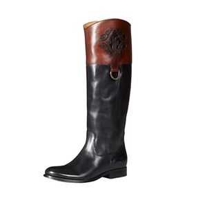 Frye Melissa Logo Two Toned Riding Boots Size 6.5